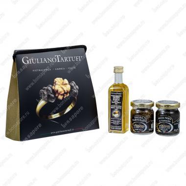 Набор MiniBag, Giuliano Tartufi: Соус грибной трюфельный 50 г, Соус грибной трюфельный (с чернилами каракатицы) 45 г, Масло оливковое с белым трюфелем 55 мл