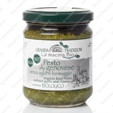 Соус песто Дженовезе со 100% Генуэзским Базиликом DOP на оливковом масле e.v. без чеснока и сыра 180 г La Macina BIO